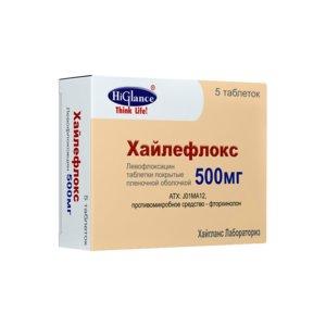 Хайлефлокс (Левофлоксацин ) тб п/о плен 500 мг N 5 купить в Челябинск, описание и инструкция по применению лекарства, купить Хайлефлокс (Левофлоксацин ) тб п/о плен 500 мг N 5 заказ на Apteka-ot-sklada.ru